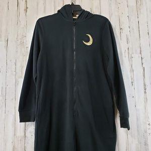 Xhilaration Womens Pajamas Black Fleece Cat Romper